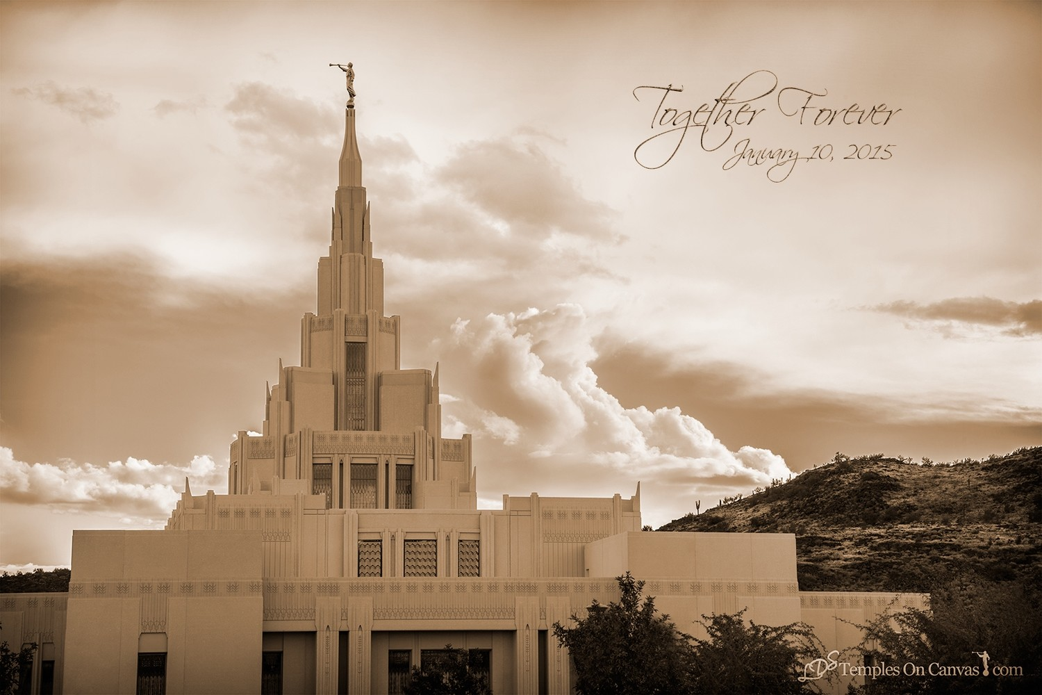 Phoenix AZ LDS Temple - Mountain of the Lord -Sepia Print