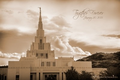 Phoenix AZ LDS Temple - Mountain of the Lord -Sepia Print
