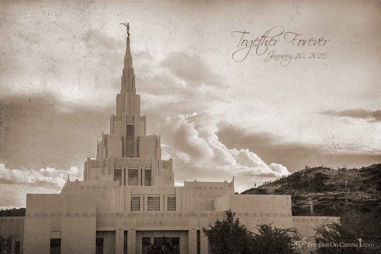 Phoenix AZ LDS Temple - Mountain of the Lord - Rustic Print