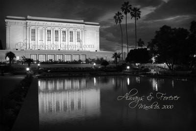 Mesa Arizona LDS Temple - Dusk Reflection - Black & White
