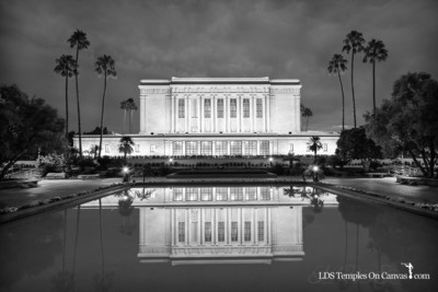 Mesa Arizona LDS Temple - Pioneer Reflections - Black & White