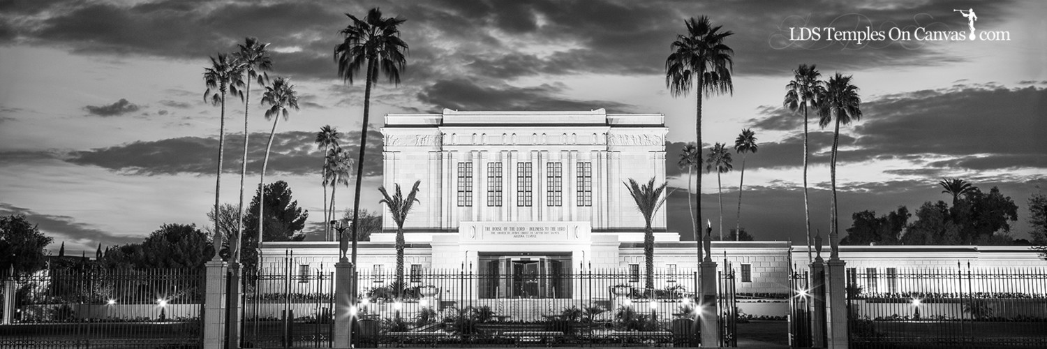 Mesa Arizona LDS Temple - Peaceful Twilight - Black & White - Panoramic