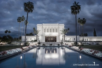 Mesa Arizona LDS Temple - Tempest - Tinted Black & White