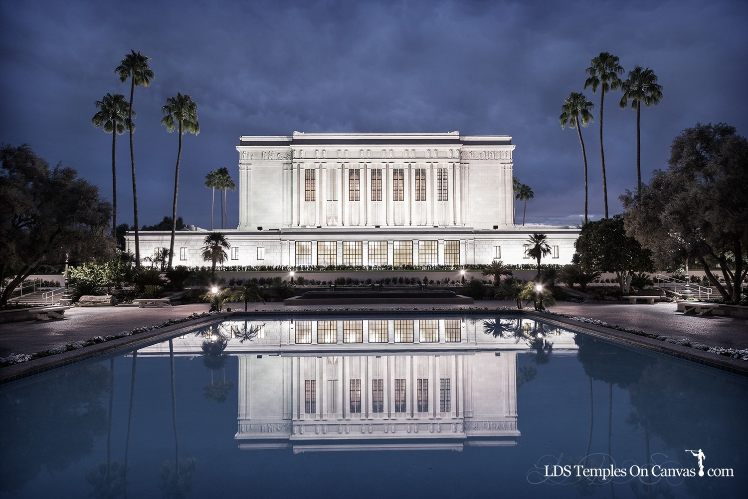 Mesa Arizona LDS Temple - Pioneer Reflections - Tinted Black & White
