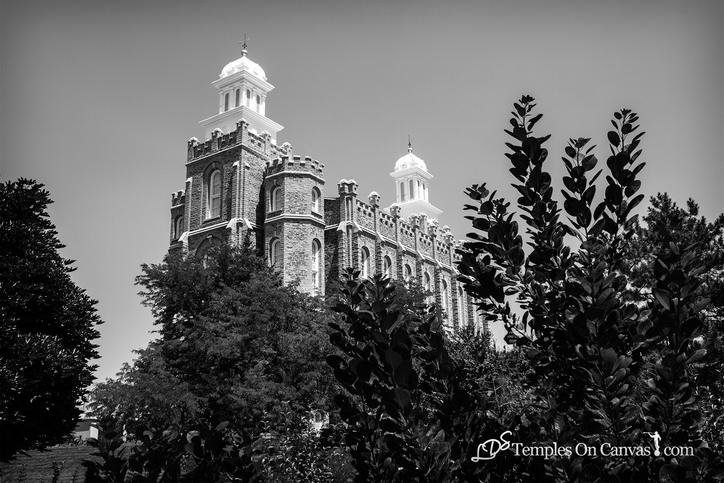 Logan Utah Temple - Beacon on the Hill - Black & White