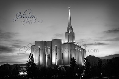 Oquirrh Mountain Utah Temple Art - Early Dawn - Black & White