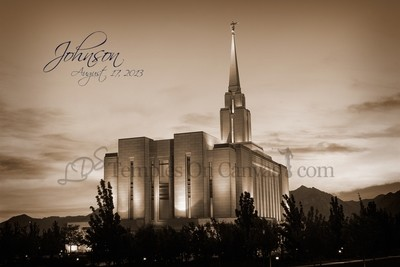 Oquirrh Mountain Utah Temple Art - Early Dawn - Sepia