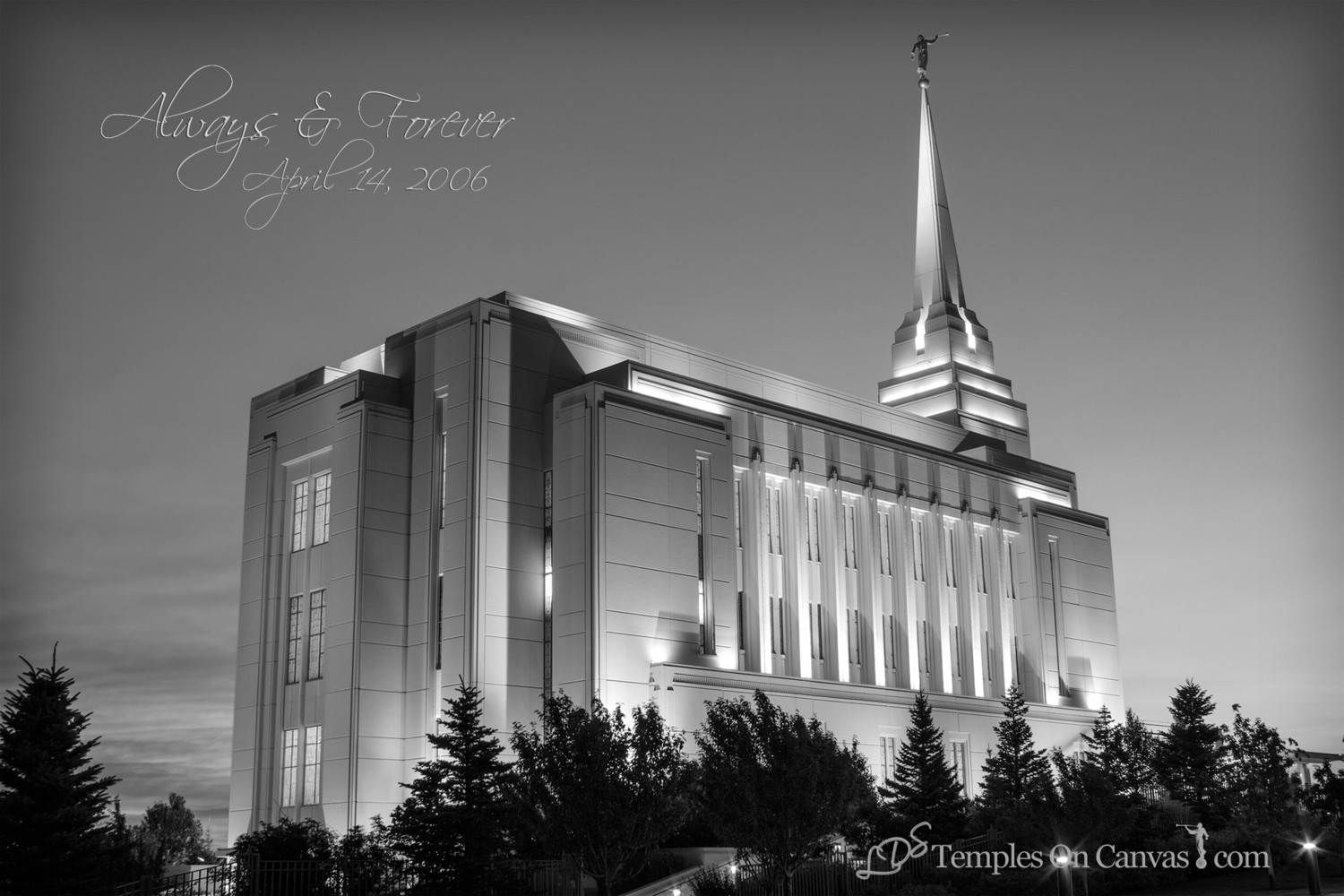 Rexburg Idaho Temple - Light on the Hill - Black & White