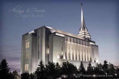 Rexburg Idaho Temple - Light on the Hill - Tinted Black & White