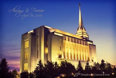 Rexburg Idaho Temple - Light on the Hill - Vintage