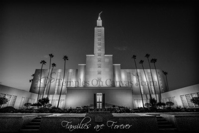 Los Angeles California LDS Temple - Eventide - Black & White