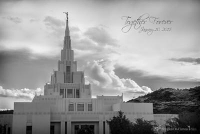 Phoenix AZ LDS Temple - Mountain of the Lord - Black & White Print