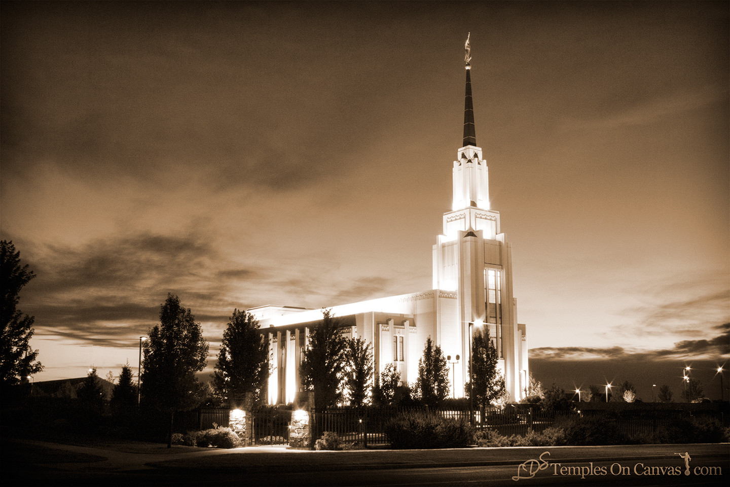 Twin Falls Idaho Temple - Peaceful Dusk - Sepia
