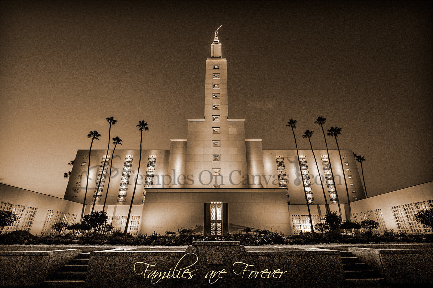 Los Angeles California LDS Temple - Eventide - Sepia
