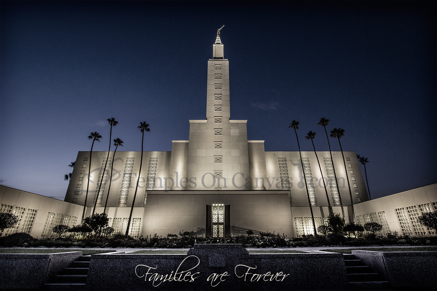 Los Angeles California LDS Temple - Eventide - Tinted Black & White