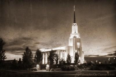 Twin Falls Idaho Temple - Peaceful Dusk - Rustic