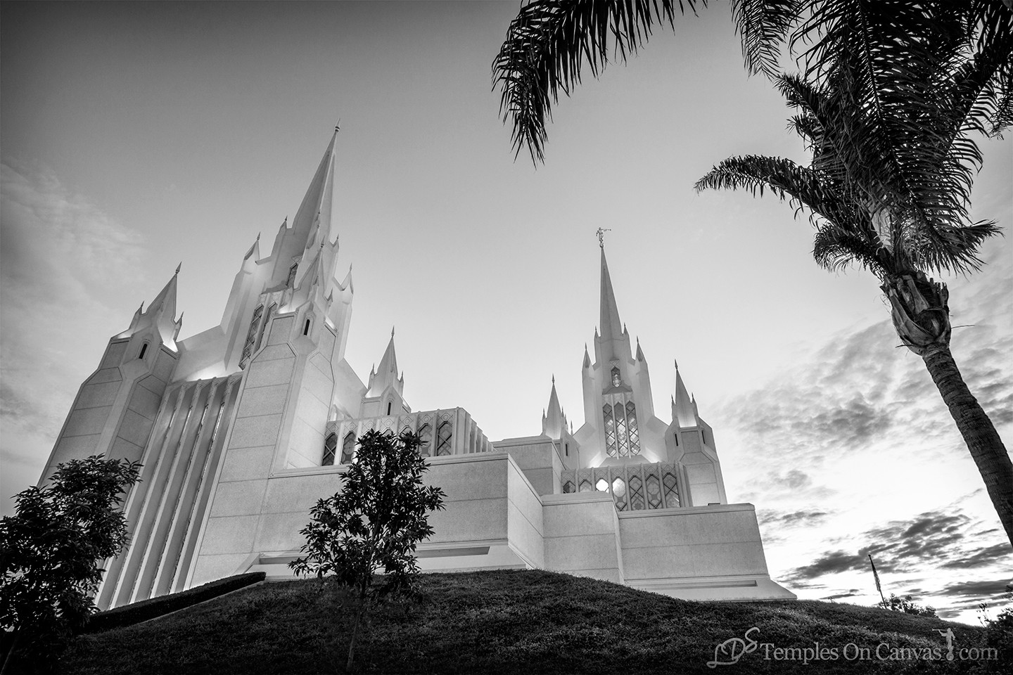 San Diego California Temple Art - Heavenward - Black & White