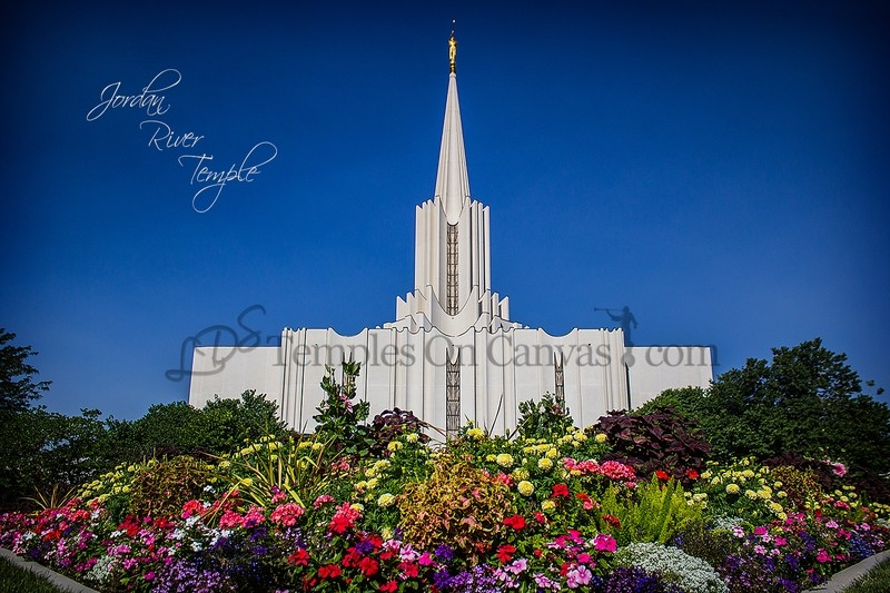 Jordan River Utah Temple Art - Summer Flowers