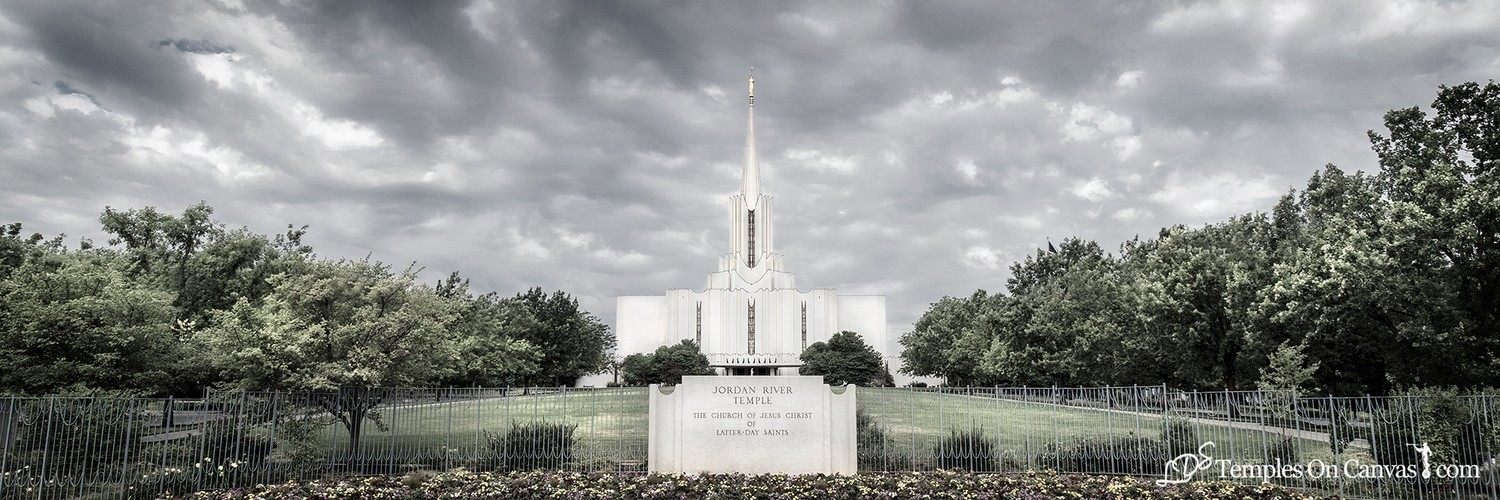 Jordan River Utah LDS Temple - Tempest - Tinted Black & White