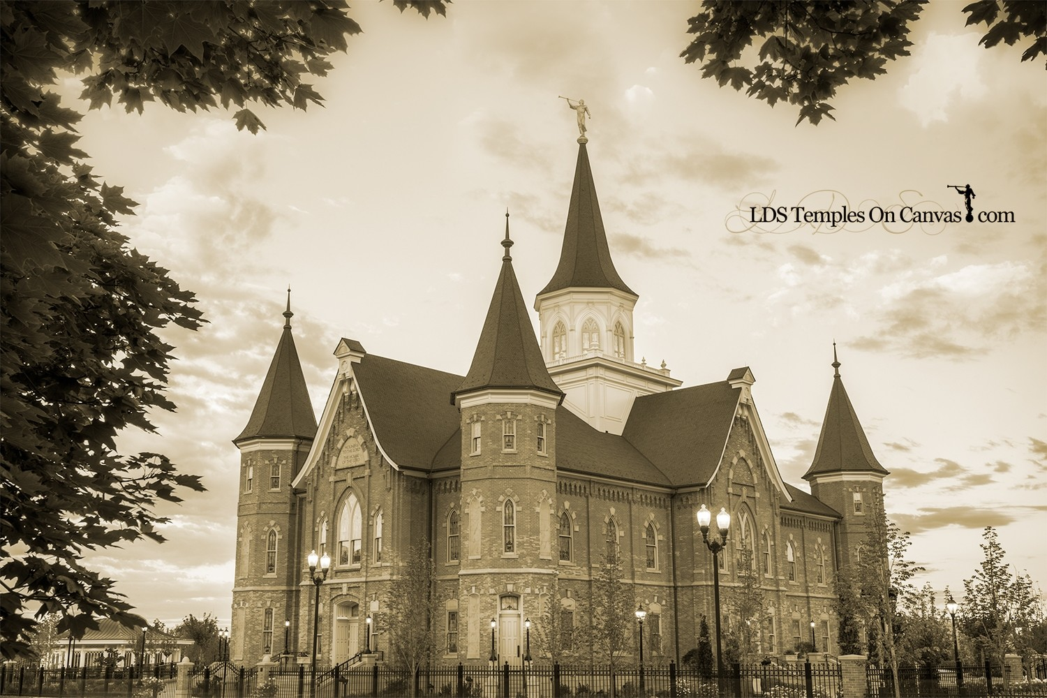 Provo City Center Utah LDS Temple - Eastward - Sepia