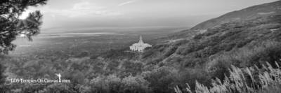 Bountiful Utah LDS Temple - Summer Sunset - Black & White - Panoramic