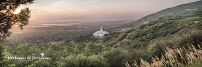 Bountiful Utah LDS Temple - Summer Sunset - Tinted Black & White - Panoramic