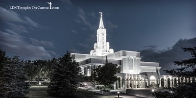 Bountiful Utah LDS Temple - Eventide - Tinted Black & White