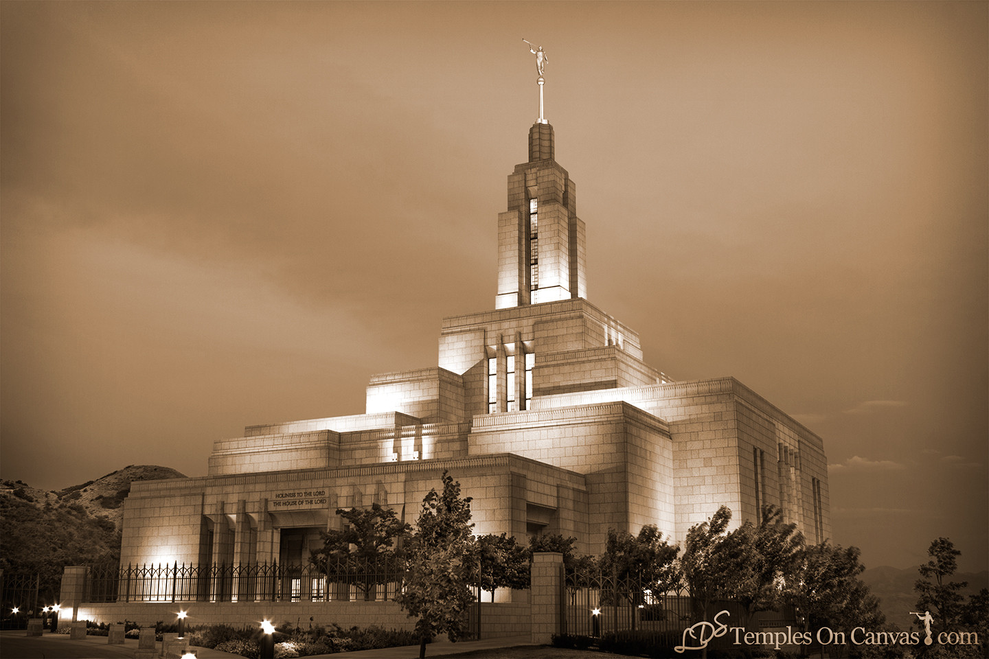 Draper UT Temple Art - Morning Sunrise - Sepia