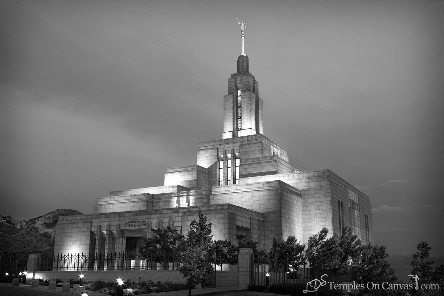 Draper UT Temple Art - Morning Sunrise - Black & White