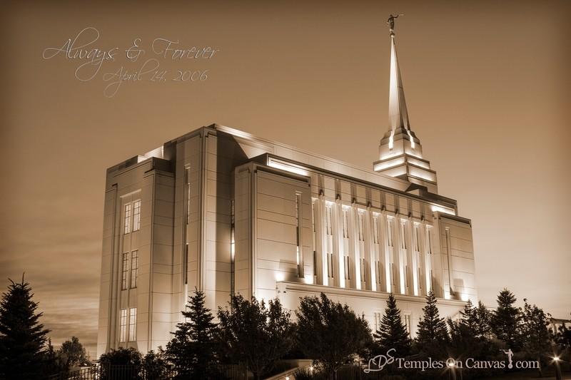 Rexburg Idaho Temple - Light on the Hill - Sepia