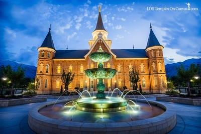 Provo City Center Utah LDS Temple - Fountain of Living Water - Color