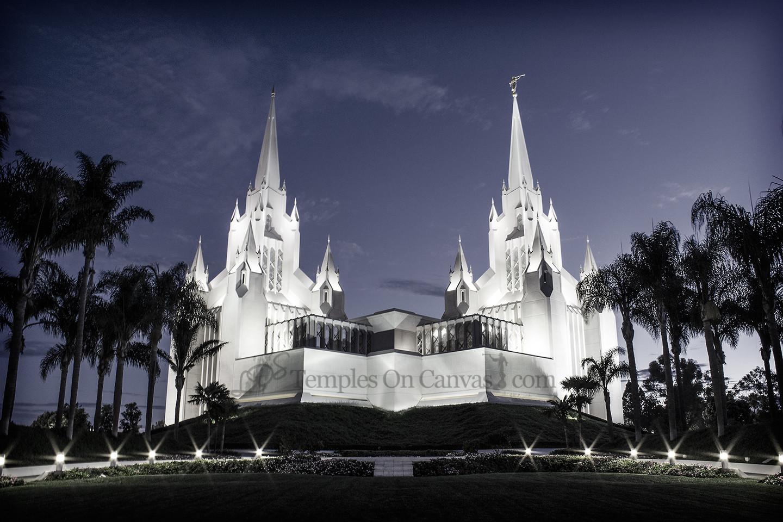 San Diego California Temple Art - Summer Sunrise - Tinted Black & White