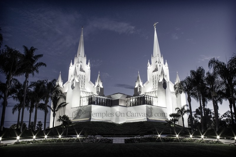San Diego California Temple Art - Summer Sunrise - Tinted Black & White