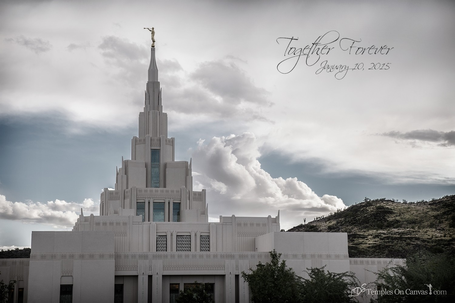 Phoenix AZ LDS Temple - Mountain of the Lord - Tinted Black & White Print