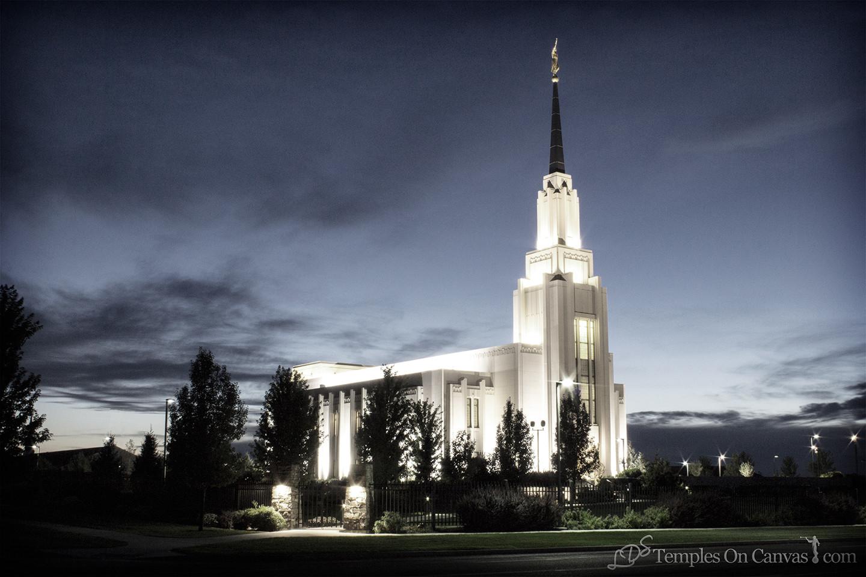 Twin Falls Idaho Temple - Peaceful Dusk - Tinted Black & White