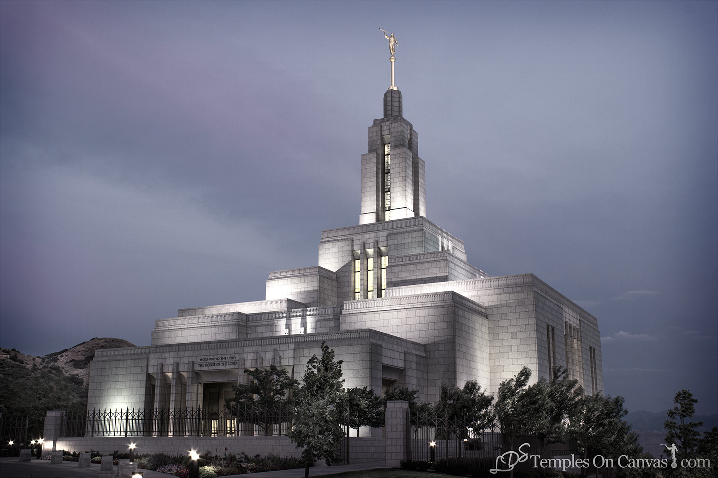 Draper UT Temple Art - Morning Sunrise - Tinted Black & White