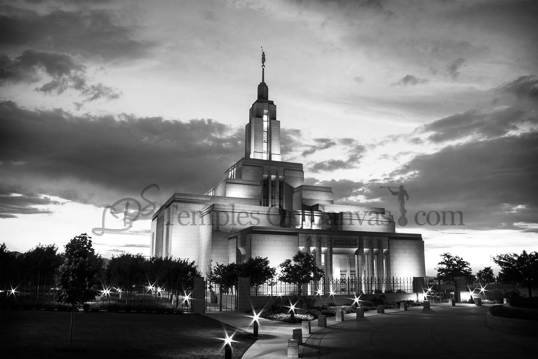 Draper UT Temple Art - Blue Sunset - Black & White