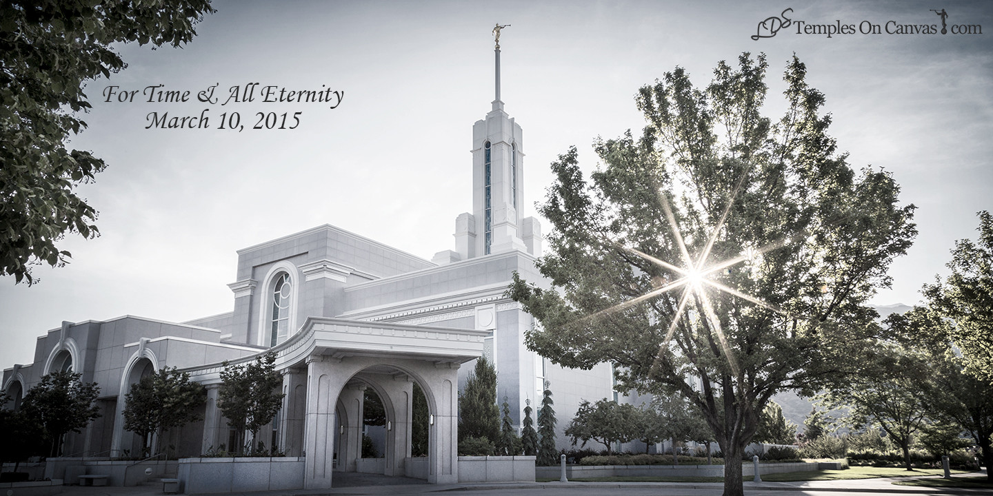 Timpanogas Utah LDS Temple - Summer Sunbeam - Tinted Black & White Print
