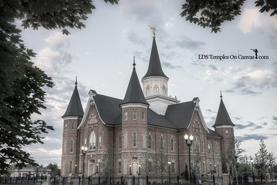 Provo City Center Utah LDS Temple - Eastward - Tinted Black & White