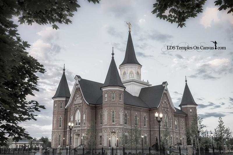 Provo City Center Utah LDS Temple - Eastward - Tinted Black & White