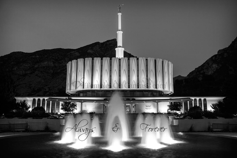 Provo UT Temple Art - Dusk Fountain Eruption - Black & White