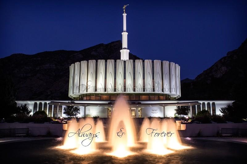 Provo UT Temple Art - Dusk Fountain Eruption