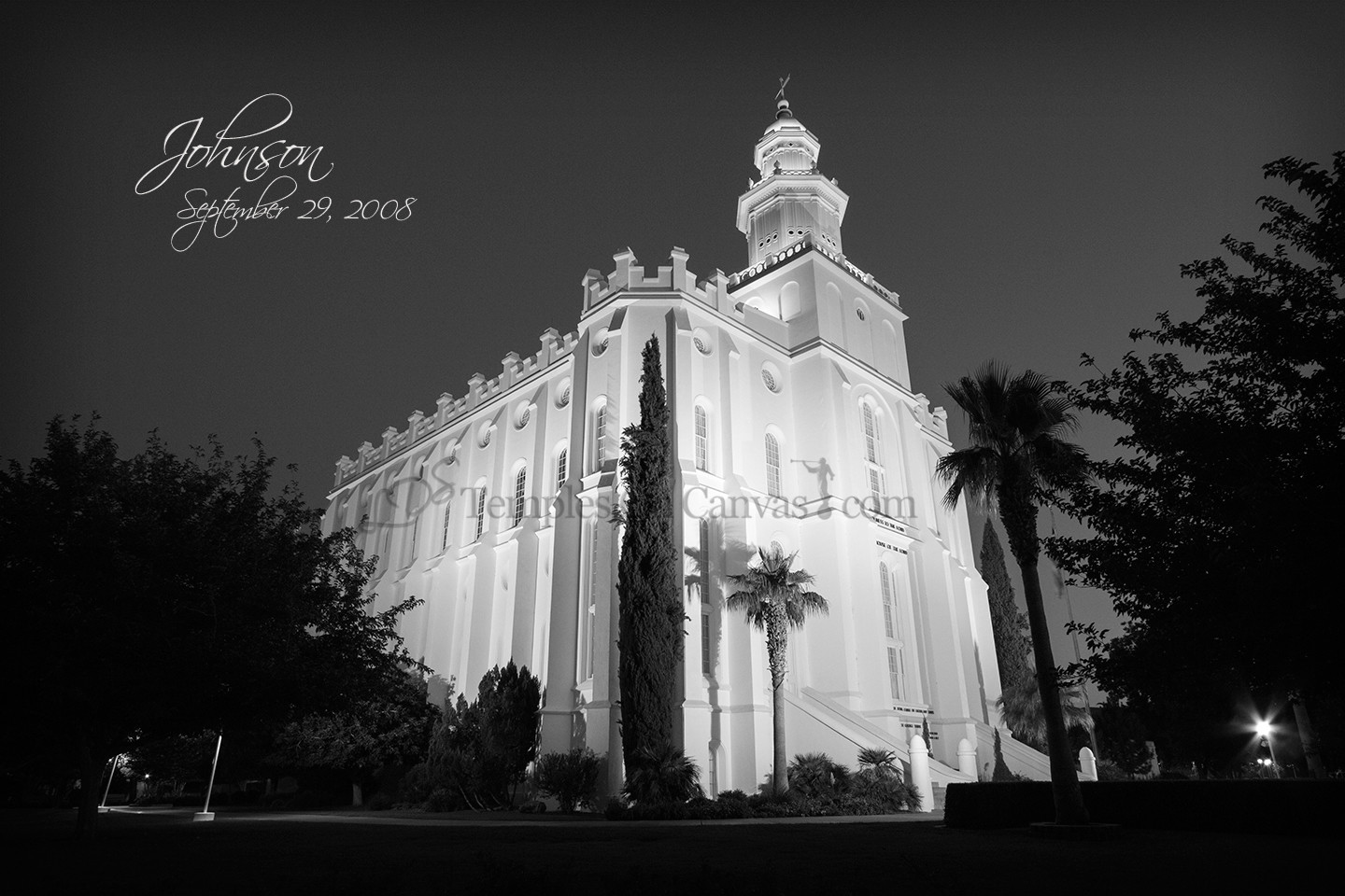 St. George UT Temple Art - Summer Evening - Black & White