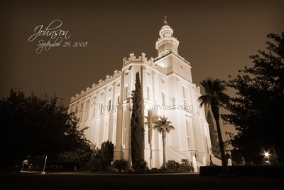 St. George UT Temple Art - Summer Evening - Sepia