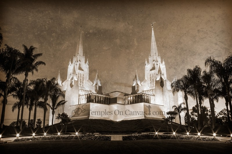 San Diego CA Temple Art - Summer Sunrise - Rustic