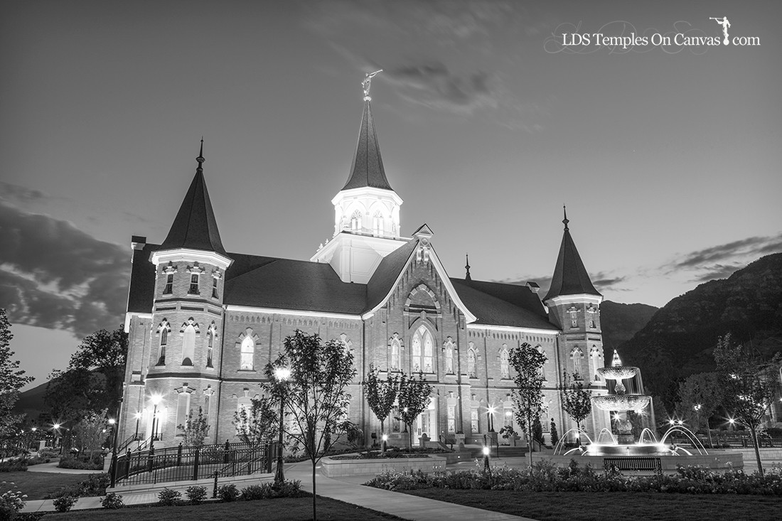 Provo City Center Utah LDS Temple - Rise Up - Black & White