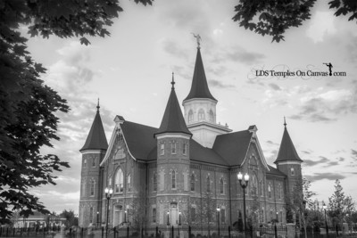 Provo City Center Utah LDS Temple - Eastward - Black & White