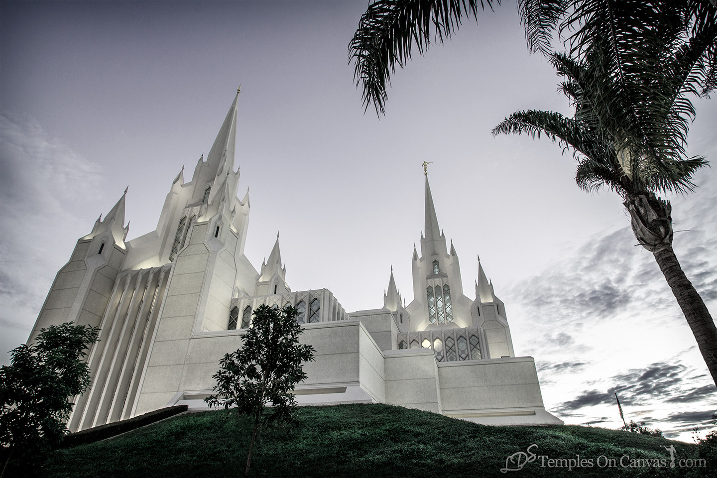 San Diego California Temple Art - Heavenward - Tinted Black & White