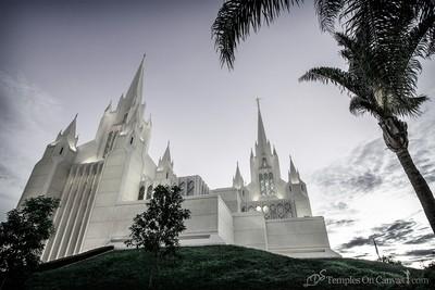 San Diego California Temple Art - Heavenward - Tinted Black & White
