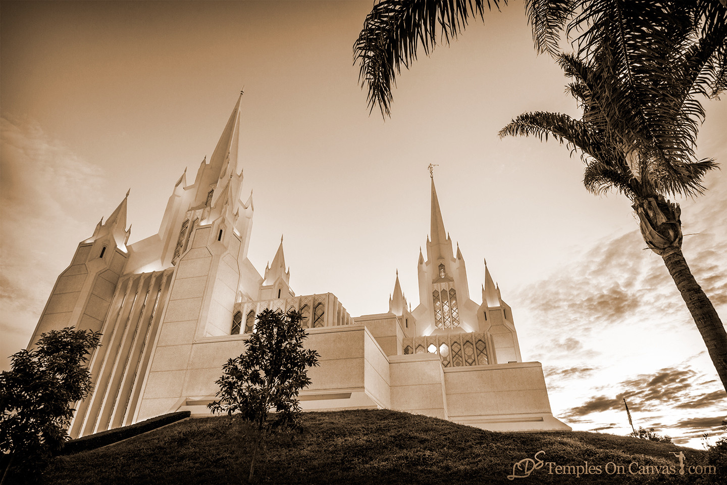 San Diego California Temple Art - Heavenward - Sepia